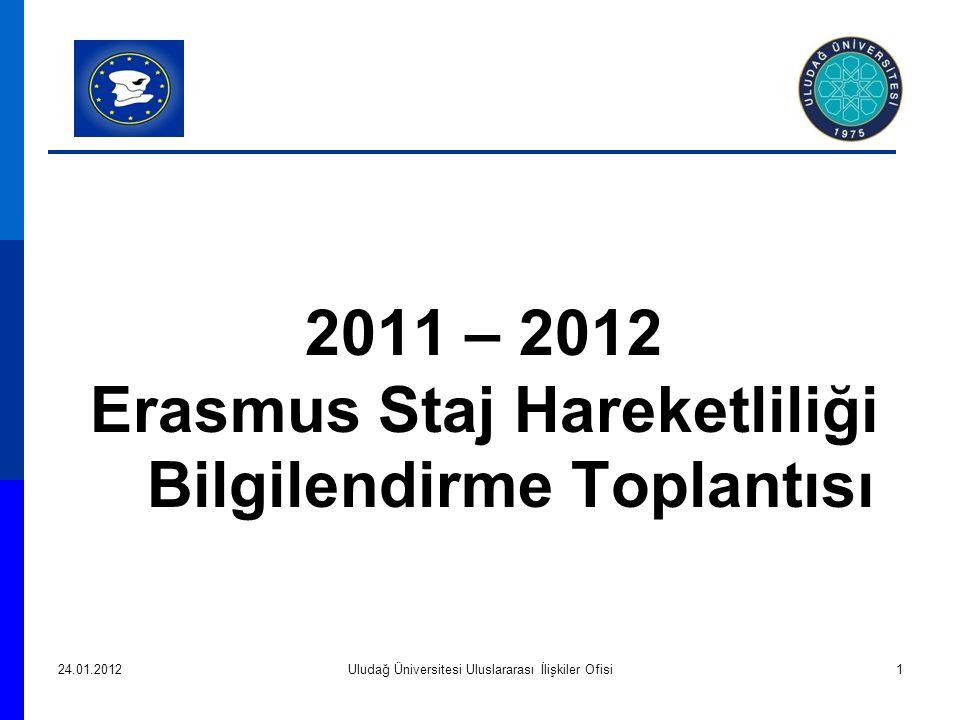 2011 – 2012 Erasmus Staj Hareketliliği Bilgilendirme Toplantısı 24.01.2012Uludağ Üniversitesi Uluslararası İlişkiler Ofisi1