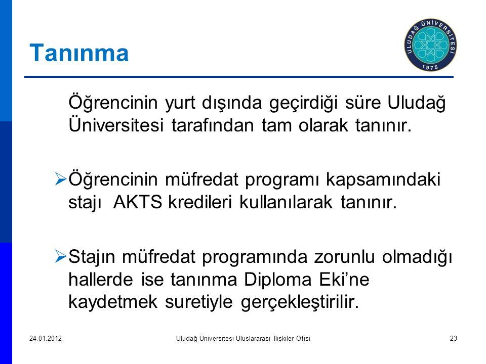 Tanınma  Öğrencinin yurt dışında geçirdiği süre Uludağ Üniversitesi tarafından tam olarak tanınır.
