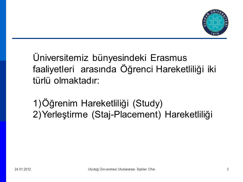 24.01.2012Uludağ Üniversitesi Uluslararası İlişkiler Ofisi3 Üniversitemiz bünyesindeki Erasmus faaliyetleri arasında Öğrenci Hareketliliği iki türlü olmaktadır: 1)Öğrenim Hareketliliği (Study) 2)Yerleştirme (Staj-Placement) Hareketliliği