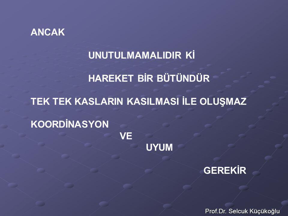Prof.Dr. Selcuk Küçükoğlu ANCAK UNUTULMAMALIDIR Kİ HAREKET BİR BÜTÜNDÜR TEK TEK KASLARIN KASILMASI İLE OLUŞMAZ KOORDİNASYON VE UYUM GEREKİR