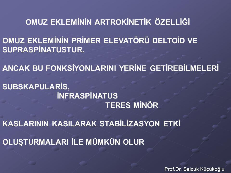 Prof.Dr. Selcuk Küçükoğlu OMUZ EKLEMİNİN ARTROKİNETİK ÖZELLİĞİ OMUZ EKLEMİNİN PRİMER ELEVATÖRÜ DELTOİD VE SUPRASPİNATUSTUR. ANCAK BU FONKSİYONLARINI Y