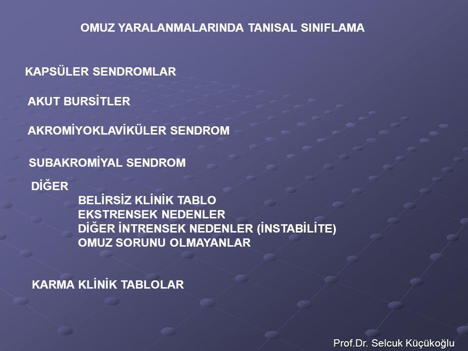 Prof.Dr. Selcuk Küçükoğlu OMUZ YARALANMALARINDA TANISAL SINIFLAMA KAPSÜLER SENDROMLAR AKUT BURSİTLER AKROMİYOKLAVİKÜLER SENDROM SUBAKROMİYAL SENDROM D