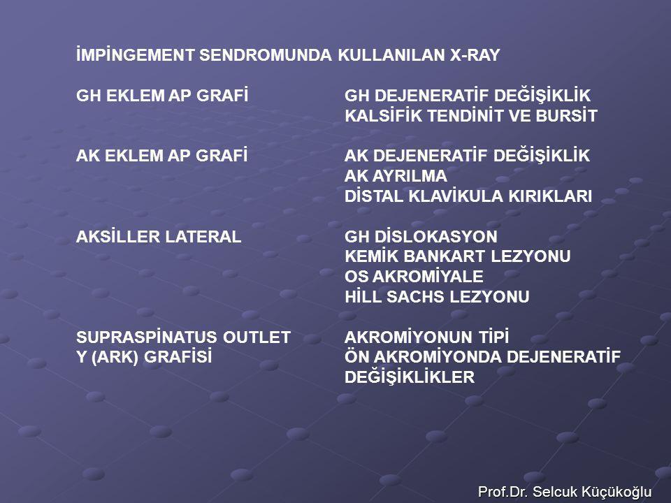 Prof.Dr. Selcuk Küçükoğlu İMPİNGEMENT SENDROMUNDA KULLANILAN X-RAY GH EKLEM AP GRAFİGH DEJENERATİF DEĞİŞİKLİK KALSİFİK TENDİNİT VE BURSİT AK EKLEM AP