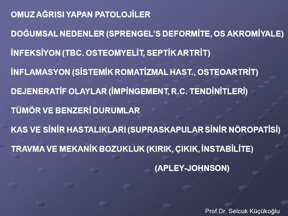 Prof.Dr. Selcuk Küçükoğlu OMUZ AĞRISI YAPAN PATOLOJİLER DOĞUMSAL NEDENLER (SPRENGEL'S DEFORMİTE, OS AKROMİYALE) İNFEKSİYON (TBC. OSTEOMYELİT, SEPTİK A