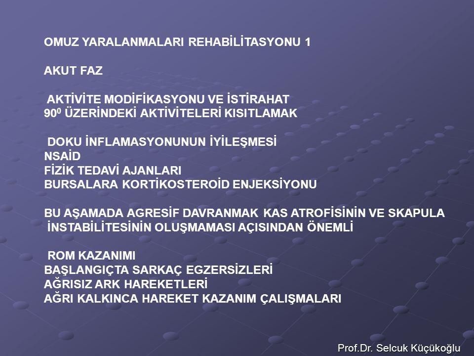 Prof.Dr. Selcuk Küçükoğlu OMUZ YARALANMALARI REHABİLİTASYONU 1 AKUT FAZ AKTİVİTE MODİFİKASYONU VE İSTİRAHAT 90 0 ÜZERİNDEKİ AKTİVİTELERİ KISITLAMAK DO