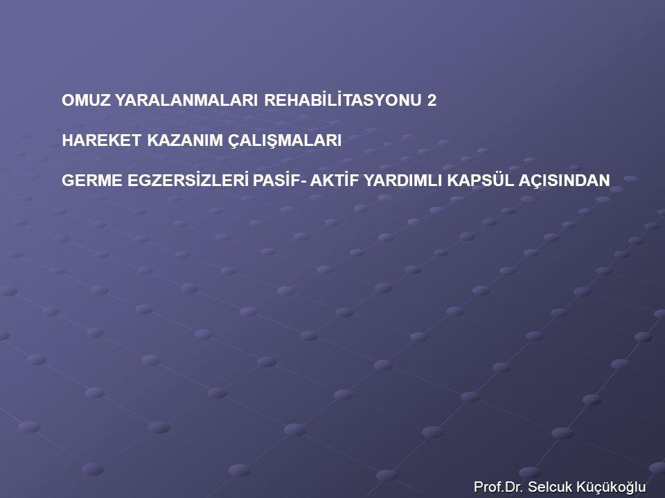 Prof.Dr. Selcuk Küçükoğlu OMUZ YARALANMALARI REHABİLİTASYONU 2 HAREKET KAZANIM ÇALIŞMALARI GERME EGZERSİZLERİ PASİF- AKTİF YARDIMLI KAPSÜL AÇISINDAN