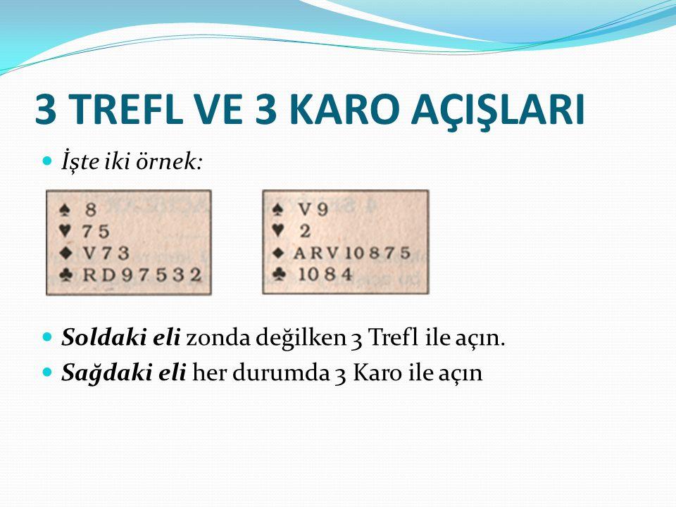 3 TREFL VE 3 KARO AÇIŞLARI İşte iki örnek: Soldaki eli zonda değilken 3 Trefl ile açın. Sağdaki eli her durumda 3 Karo ile açın