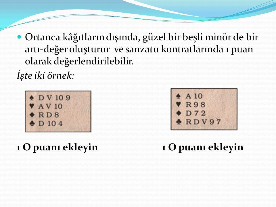 Ortanca kâğıtların dışında, güzel bir beşli minör de bir artı-değer oluşturur ve sanzatu kontratlarında 1 puan olarak değerlendirilebilir.