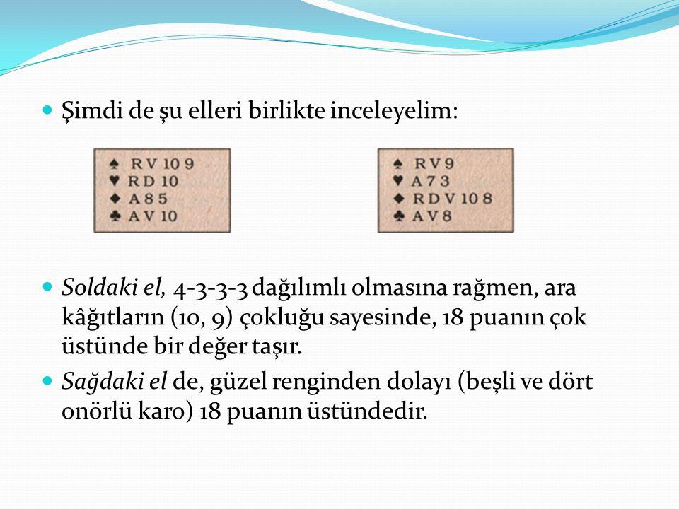 Şimdi de şu elleri birlikte inceleyelim: Soldaki el, 4-3-3-3 dağılımlı olmasına rağmen, ara kâğıtların (10, 9) çokluğu sayesinde, 18 puanın çok üstünde bir değer taşır.
