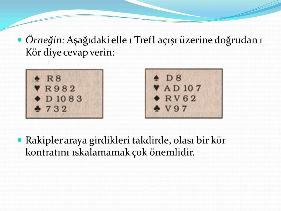 Örneğin: Aşağıdaki elle 1 Trefl açışı üzerine doğrudan 1 Kör diye cevap verin: Rakipler araya girdikleri takdirde, olası bir kör kontratını ıskalamamak çok önemlidir.