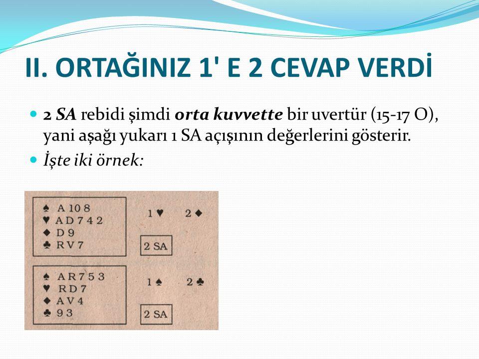 II. ORTAĞINIZ 1' E 2 CEVAP VERDİ 2 SA rebidi şimdi orta kuvvette bir uvertür (15-17 O), yani aşağı yukarı 1 SA açışının değerlerini gösterir. İşte iki