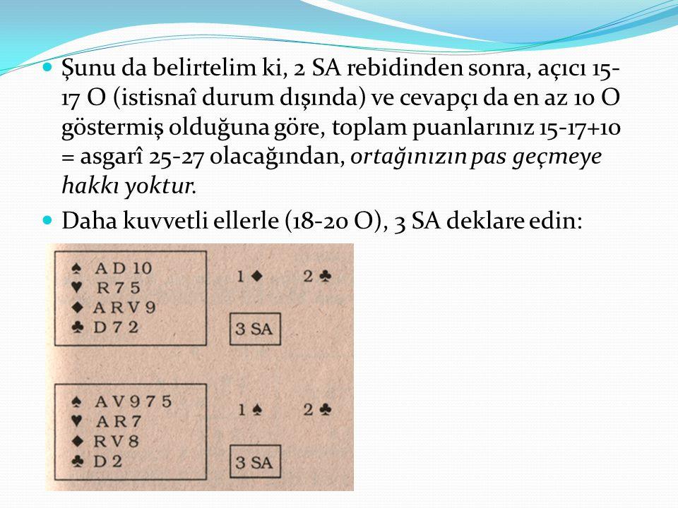 Şunu da belirtelim ki, 2 SA rebidinden sonra, açıcı 15- 17 O (istisnaî durum dışında) ve cevapçı da en az 10 O göstermiş olduğuna göre, toplam puanlarınız 15-17+10 = asgarî 25-27 olacağından, ortağınızın pas geçmeye hakkı yoktur.