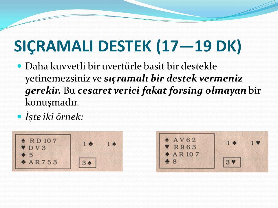 ÇİFT SIÇRAMALI DESTEK (20—22 DK puanı) Sadece 1'e 1 majör cevaplarında kullanılan çift sıçramalı destek güçlü bir uvertür gösterir, çünkü sadece 6 OD puanı olabilecek bir ortak karşısında manş empoze eder.