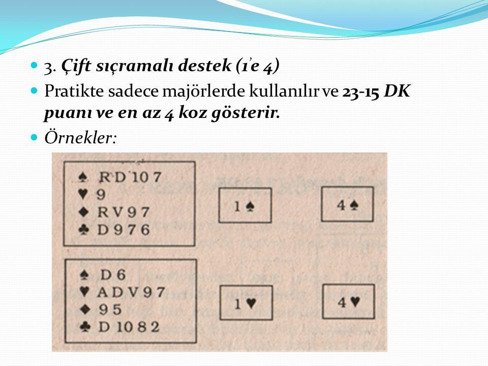 3. Çift sıçramalı destek (1 ' e 4) Pratikte sadece majörlerde kullanılır ve 23-15 DK puanı ve en az 4 koz gösterir. Örnekler:
