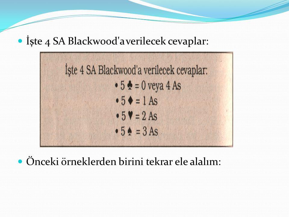 İşte 4 SA Blackwood a verilecek cevaplar: Önceki örneklerden birini tekrar ele alalım: