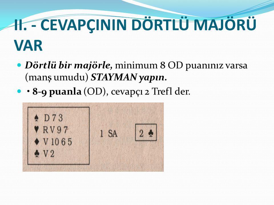 II. - CEVAPÇININ DÖRTLÜ MAJÖRÜ VAR Dörtlü bir majörle, minimum 8 OD puanınız varsa (manş umudu) STAYMAN yapın. 8-9 puanla (OD), cevapçı 2 Trefl der.
