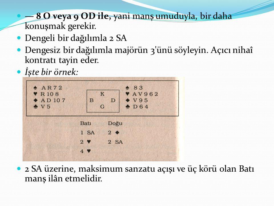 — 8 O veya 9 OD ile, yani manş umuduyla, bir daha konuşmak gerekir. Dengeli bir dağılımla 2 SA Dengesiz bir dağılımla majörün 3'ünü söyleyin. Açıcı ni