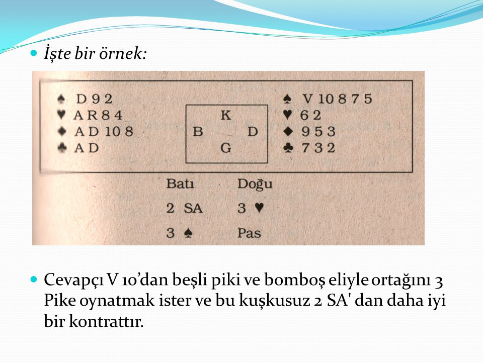 İşte bir örnek: Cevapçı V 10'dan beşli piki ve bomboş eliyle ortağını 3 Pike oynatmak ister ve bu kuşkusuz 2 SA' dan daha iyi bir kontrattır.