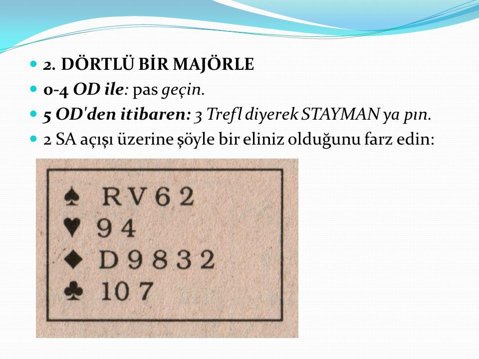 2. DÖRTLÜ BİR MAJÖRLE 0-4 OD ile: pas geçin. 5 OD'den itibaren: 3 Trefl diyerek STAYMAN ya pın. 2 SA açışı üzerine şöyle bir eliniz olduğunu farz edin