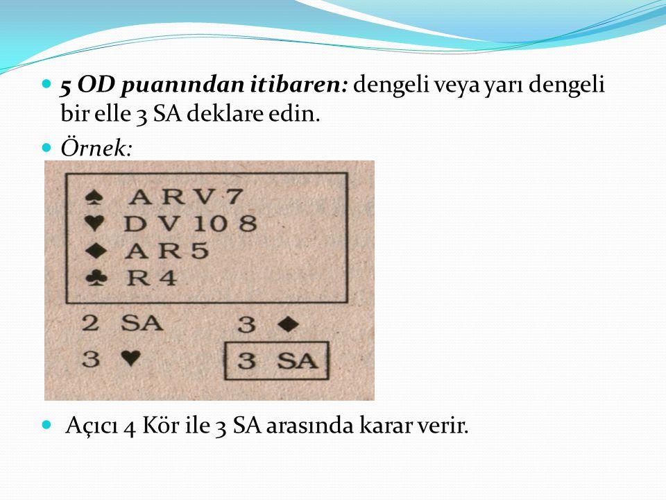 5 OD puanından itibaren: dengeli veya yarı dengeli bir elle 3 SA deklare edin. Örnek: Açıcı 4 Kör ile 3 SA arasında karar verir.