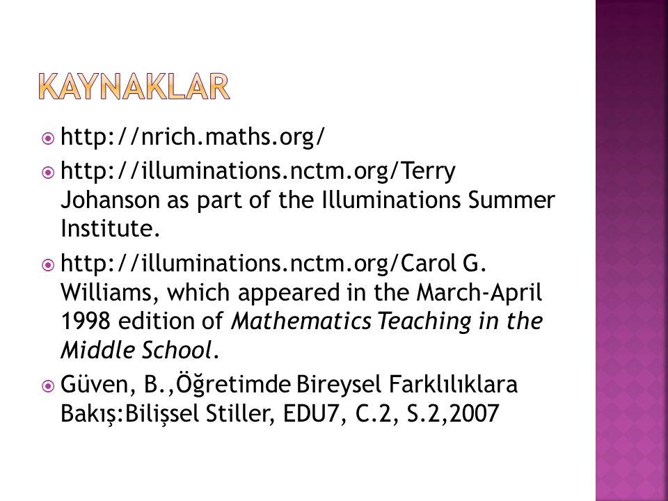  http://nrich.maths.org/  http://illuminations.nctm.org/Terry Johanson as part of the Illuminations Summer Institute.  http://illuminations.nctm.or