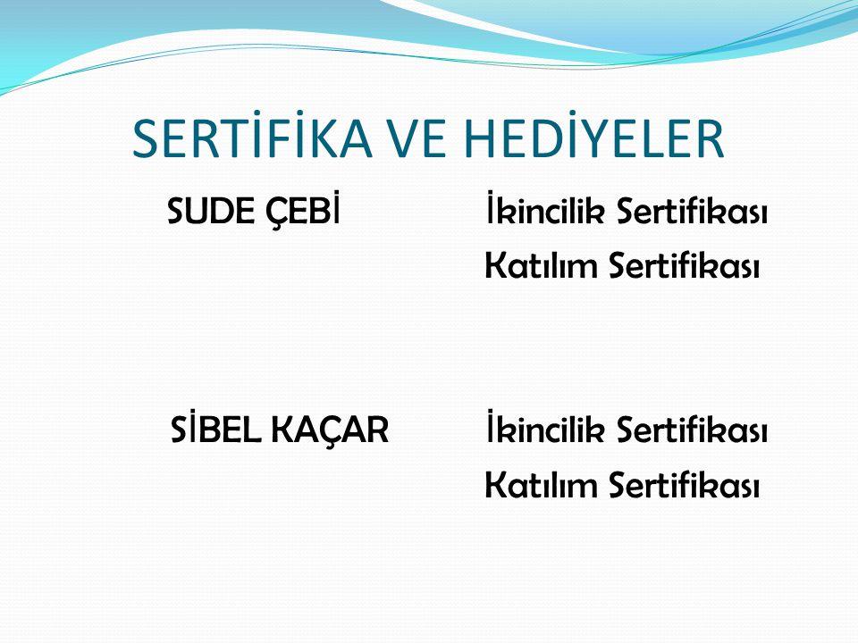 SERTİFİKA VE HEDİYELER SUDE ÇEB İ İ kincilik Sertifikası Katılım Sertifikası S İ BEL KAÇAR İ kincilik Sertifikası Katılım Sertifikası
