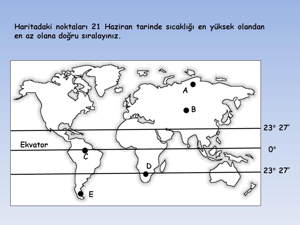 Ekvator B A C D E 23° 27' 0° Haritadaki noktaları 21 Haziran tarinde sıcaklığı en yüksek olandan en az olana doğru sıralayınız.