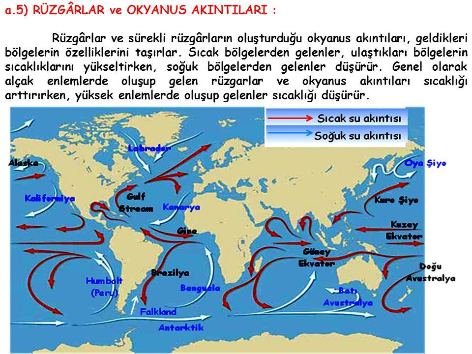 a.5) RÜZGÂRLAR ve OKYANUS AKINTILARI : Rüzgârlar ve sürekli rüzgârların oluşturduğu okyanus akıntıları, geldikleri bölgelerin özelliklerini taşırlar.