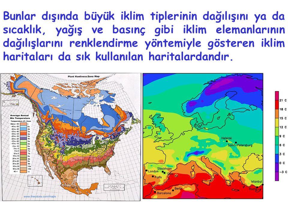 Bunlar dışında büyük iklim tiplerinin dağılışını ya da sıcaklık, yağış ve basınç gibi iklim elemanlarının dağılışlarını renklendirme yöntemiyle göster