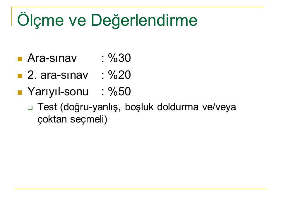 Ölçme ve Değerlendirme Ara-sınav: %30 2.