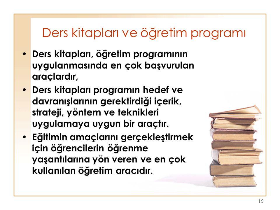 15 Ders kitapları ve öğretim programı Ders kitapları, öğretim programının uygulanmasında en çok başvurulan araçlardır, Ders kitapları programın hedef ve davranışlarının gerektirdiği içerik, strateji, yöntem ve teknikleri uygulamaya uygun bir araçtır.