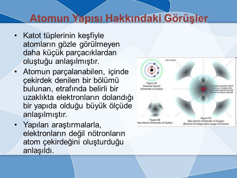 Bohr Atom Modeli Bir elektronun bulunduğu yer sahip olduğu enerjiye bağlıdır.