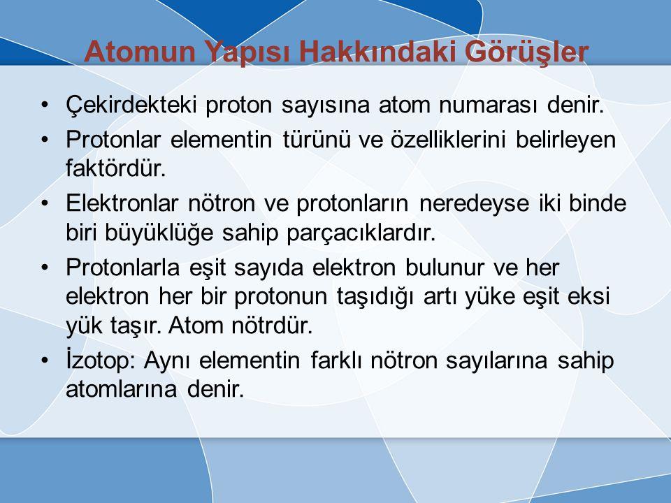 Atomun Yapısı Hakkındaki Görüşler Modern atom teorisine göre; –Atom ortada bulunan pozitif yüklü çekirdekle, etrafındaki negatif yüklü elektronlardan