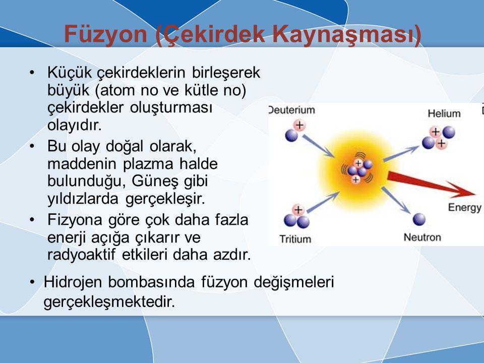 Fizyon Deşiğimleri Fizyon değişimi esnasında çok küçüm miktarda bir kütle kaybı yaşanmakta ve bu kayıp yüksek miktarda enerji açığa çıkarmaktadır.