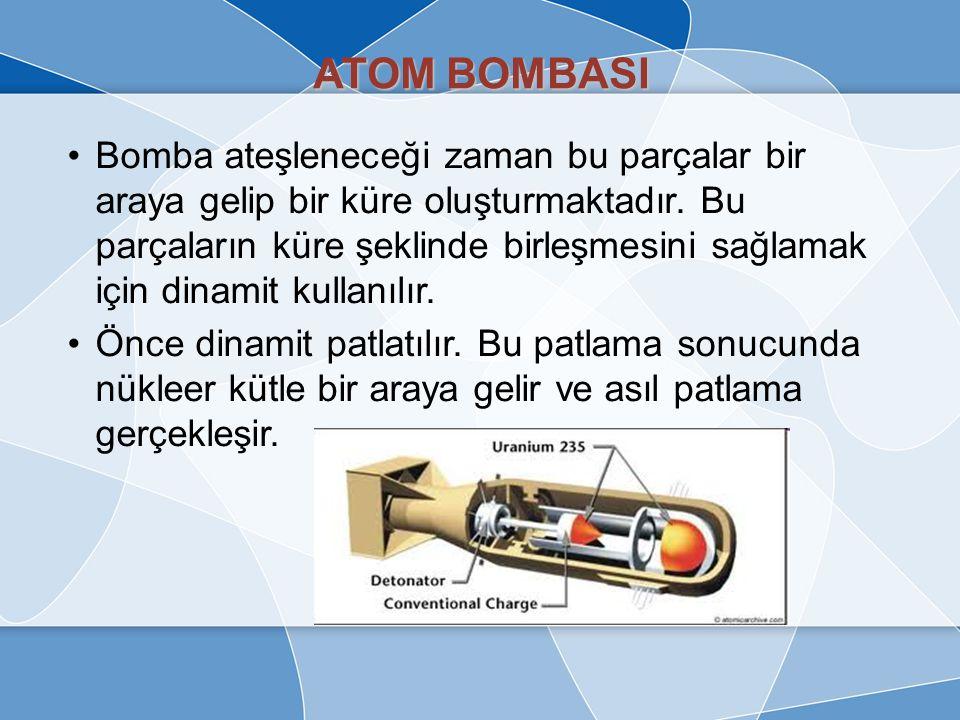 ATOM BOMBASI Bir atom bombasında meydana gelen olay fizyon reaksiyonunun çok kısa sürede gerçekleştirilmesidir. Fizyon tipi çekirdek bölünmesine dayal