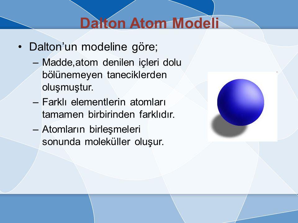 Dalton Atom Modeli İlk bilimsel yaklaşım Dalton tarafından ortaya atıldı ve atomla ilgili ilk modeli geliştirdi.