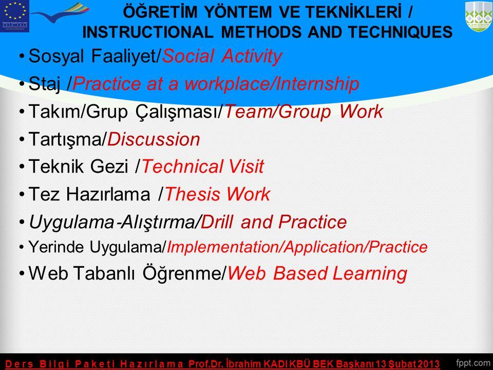 ÖĞRETİM YÖNTEM VE TEKNİKLERİ / INSTRUCTIONAL METHODS AND TECHNIQUES Ders Bilgi Paketi Hazırlama Prof.Dr. İbrahim KADI KBÜ BEK Başkanı 13 Şubat 2013 Pr