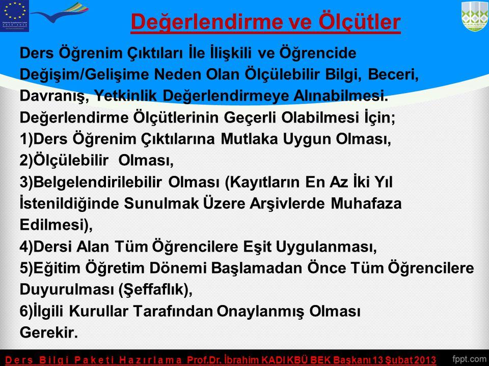 Değerlendirme ve Ölçütler Ders Bilgi Paketi Hazırlama Prof.Dr. İbrahim KADI KBÜ BEK Başkanı 13 Şubat 2013 Değerlendirme ve ÖlçütleriOran Ara Sınavlar2