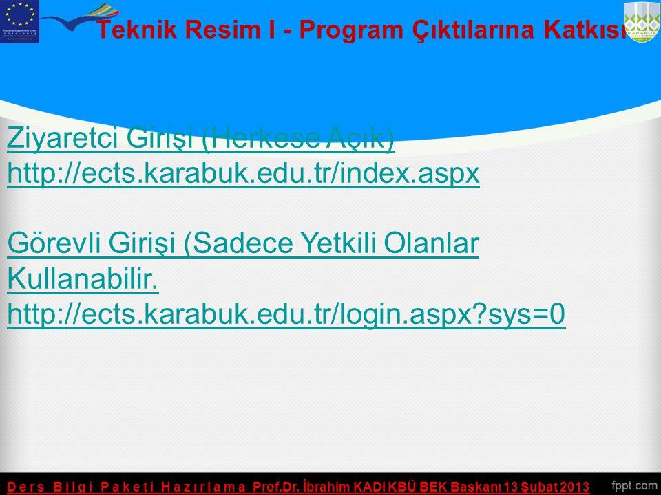 ETM103 - Teknik Resim I AKTS İş Yükü Ders Bilgi Paketi Hazırlama Prof.Dr. İbrahim KADI KBÜ BEK Başkanı 13 Şubat 2013 Etkinlik Saati/ Sayı Süresi (Haft
