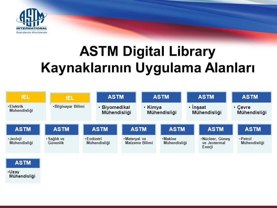 IEL Elektrik Mühendisliği IEL Bilgisayar Bilimi ASTM Biyomedikal Mühendisliği ASTM Kimya Mühendisliği ASTM İnşaat Mühendisliği ASTM Çevre Mühendisliği ASTM Jeoloji Mühendisliği ASTM Sağlık ve Güvenlik ASTM Endüstri Mühendisliği ASTM Materyal ve Malzeme Bilimi ASTM Makine Mühendisliği ASTM Nücleer, Güneş ve Jeotermal Enerji ASTM Petrol Mühendisliği ASTM Digital Library Kaynaklarının Uygulama Alanları ASTM Uzay Mühendisliği