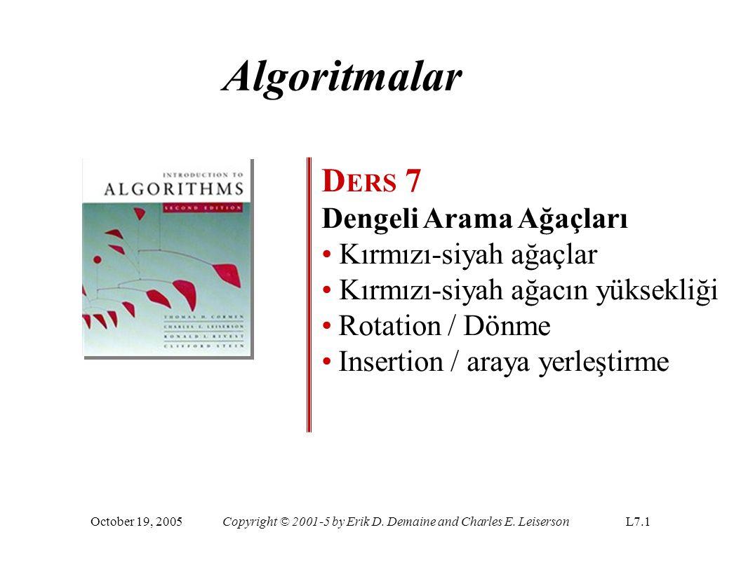 Algoritmalar D ERS 7 Dengeli Arama Ağaçları Kırmızı-siyah ağaçlar Kırmızı-siyah ağacın yüksekliği Rotation / Dönme Insertion / araya yerleştirme Octob