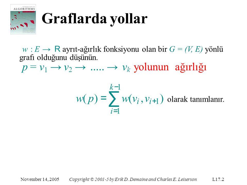 Graflarda yollar w : E → R ayrıt-ağırlık fonksiyonu olan bir G = (V, E) yönlü grafı olduğunu düşünün.