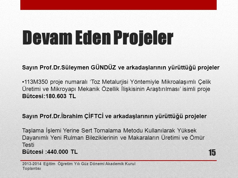 Devam Eden Projeler 2013-2014 Eğitim Öğretim Yılı Güz Dönemi Akademik Kurul Toplantısı 15 Sayın Prof.Dr.Süleymen GÜNDÜZ ve arkadaşlarının yürüttüğü projeler 113M350 proje numaralı 'Toz Metalurjisi Yöntemiyle Mikroalaşımlı Çelik Üretimi ve Mikroyapı Mekanik Özellik İlişkisinin Araştırılması' isimli proje Bütcesi:180.603 TL Sayın Prof.Dr.İbrahim ÇİFTCİ ve arkadaşlarının yürüttüğü projeler Taşlama İşlemi Yerine Sert Tornalama Metodu Kullanılarak Yüksek Dayanımlı Yeni Rulman Bileziklerinin ve Makaraların Üretimi ve Ömür Testi Bütcesi :440.000 TL