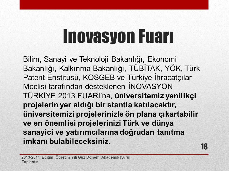Inovasyon Fuarı 2013-2014 Eğitim Öğretim Yılı Güz Dönemi Akademik Kurul Toplantısı 18 Bilim, Sanayi ve Teknoloji Bakanlığı, Ekonomi Bakanlığı, Kalkınma Bakanlığı, TÜBİTAK, YÖK, Türk Patent Enstitüsü, KOSGEB ve Türkiye İhracatçılar Meclisi tarafından desteklenen İNOVASYON TÜRKİYE 2013 FUARI'na, üniversitemiz yenilikçi projelerin yer aldığı bir stantla katılacaktır, üniversitemizi projelerinizle ön plana çıkartabilir ve en önemlisi projelerinizi Türk ve dünya sanayici ve yatırımcılarına doğrudan tanıtma imkanı bulabileceksiniz.