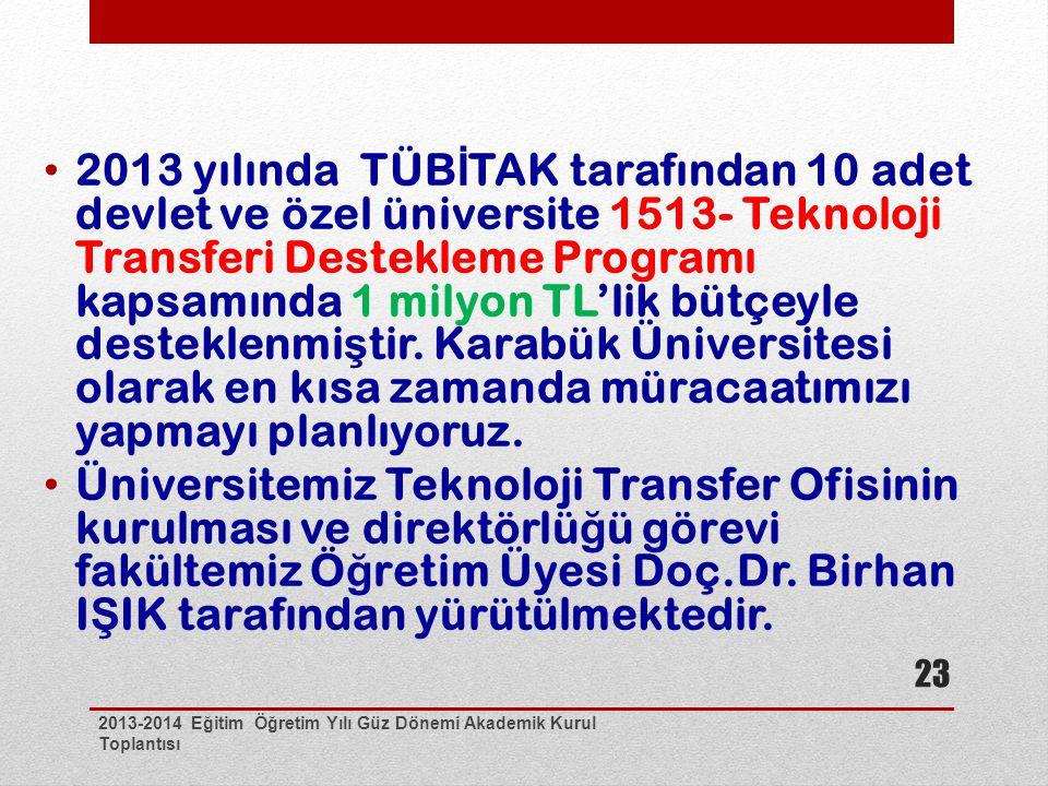 2013-2014 Eğitim Öğretim Yılı Güz Dönemi Akademik Kurul Toplantısı 23 2013 yılında TÜB İ TAK tarafından 10 adet devlet ve özel üniversite 1513- Teknoloji Transferi Destekleme Programı kapsamında 1 milyon TL'lik bütçeyle desteklenmi ş tir.