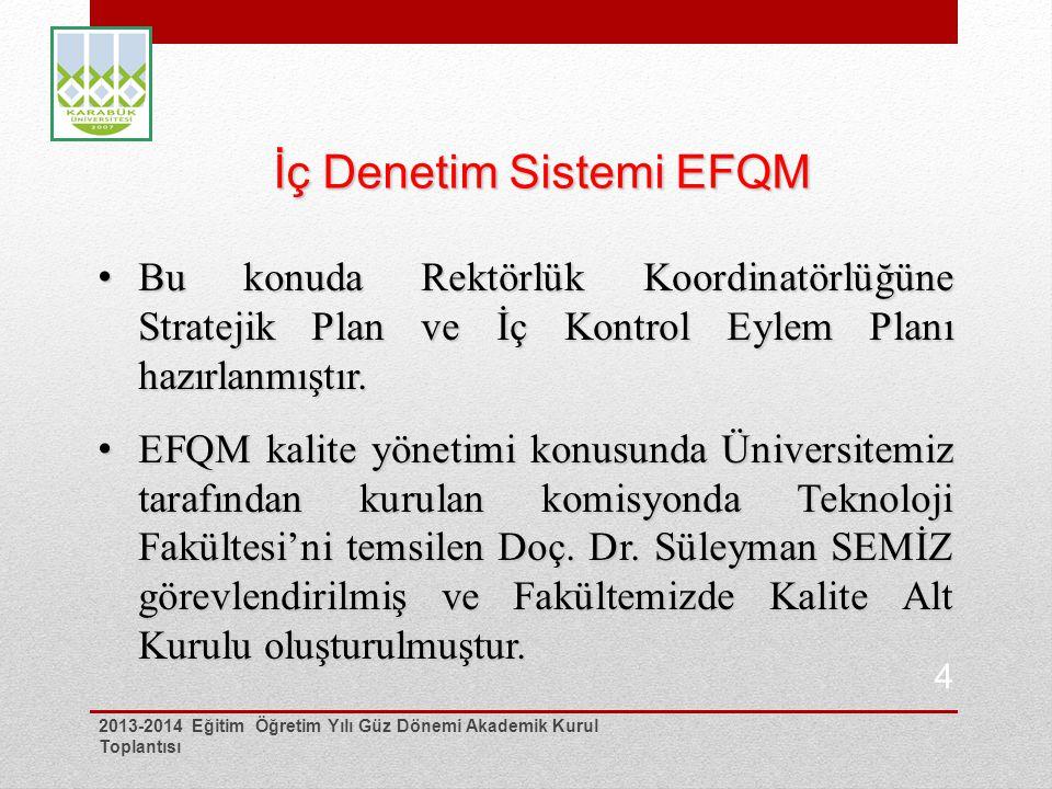 İç Denetim Sistemi EFQM Bu konuda Rektörlük Koordinatörlüğüne Stratejik Plan ve İç Kontrol Eylem Planı hazırlanmıştır.