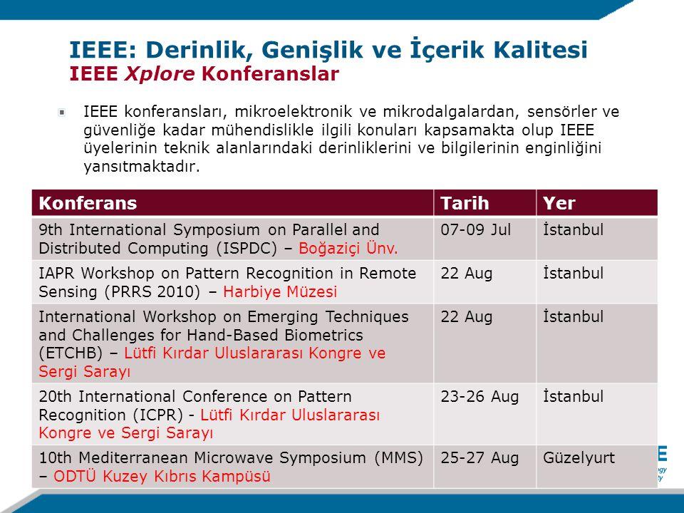 IEEE konferansları, mikroelektronik ve mikrodalgalardan, sensörler ve güvenliğe kadar mühendislikle ilgili konuları kapsamakta olup IEEE üyelerinin teknik alanlarındaki derinliklerini ve bilgilerinin enginliğini yansıtmaktadır.