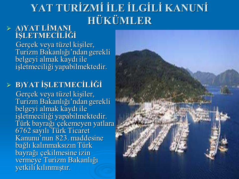 YAT TURİZMİ İLE İLGİLİ KANUNİ HÜKÜMLER  A)YAT LİMANI İŞLETMECİLİĞİ Gerçek veya tüzel kişiler, Turizm Bakanlığı'ndan gerekli belgeyi almak kaydı ile işletmeciliği yapabilmektedir.