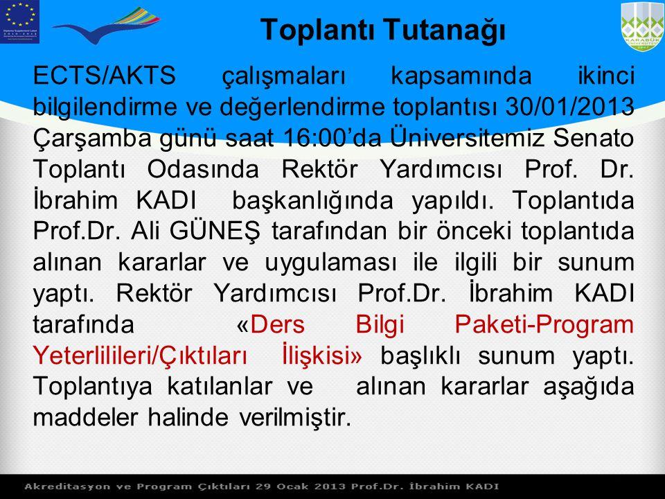 Toplantı Tutanağı ECTS/AKTS çalışmaları kapsamında ikinci bilgilendirme ve değerlendirme toplantısı 30/01/2013 Çarşamba günü saat 16:00'da Üniversitem