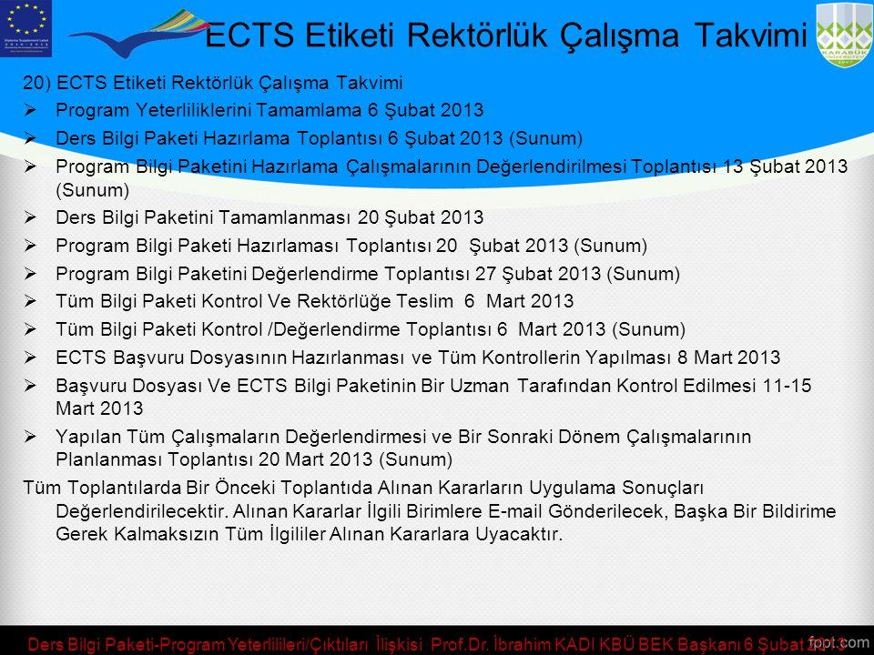 ECTS Etiketi Rektörlük Çalışma Takvimi 20) ECTS Etiketi Rektörlük Çalışma Takvimi  Program Yeterliliklerini Tamamlama 6 Şubat 2013  Ders Bilgi Paket